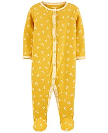 Baby Girls Cotton Pointelle Floral Footed Pajamas