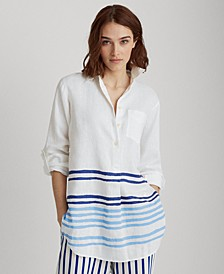 Roll-Tab Linen Top