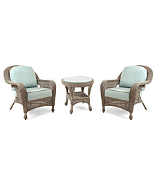 Sandy Cove Outdoor 3-Pc. Set (2 Club Chairs & 1 End Table), Created for Macy's