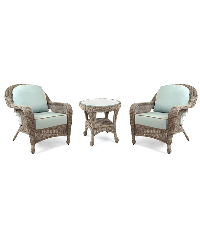 Furniture Sandy Cove Outdoor 3-Pc. Set (2 Club Chairs & 1 End Table), Created for Macy's