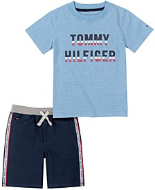 Baby Boys 2-Pc. Logo T-Shirt & Striped Shorts Set