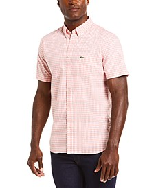 Men's Regular-Fit Gingham Poplin Cotton Shirt