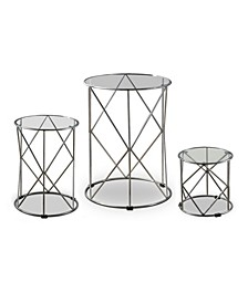 Canford Silver 3-Piece Round Nesting Table Set