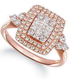 Vanilla Diamonds® (5/8 ct. t.w.) & Nude Diamonds (3/8 ct. t.w.) Halo Statement Ring in 14k Rose Gold