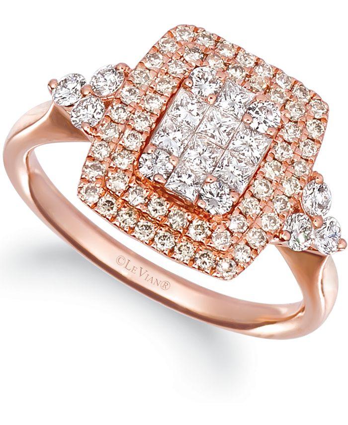 Le Vian - Vanilla Diamonds® (5/8 ct. t.w.) & Nude Diamonds (3/8 ct. t.w.) Halo Statement Ring in 14k Rose Gold