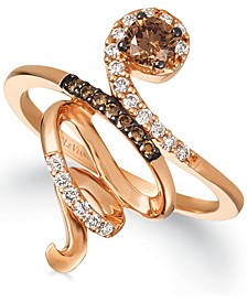Chocolate Diamonds® (1/3 ct. t.w.) & Vanilla Diamonds® (1/6 ct. t.w.) Crossover Ring in 14k Rose Gold
