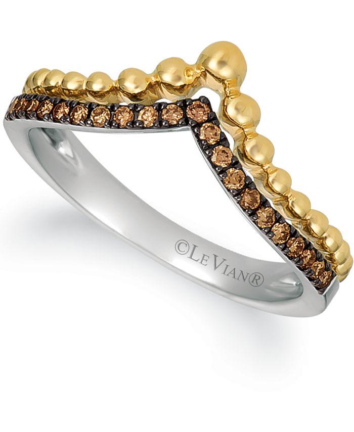 Le Vian - Chocolatier® Chocolate Diamond® (1/6 ct. t.w.) Wishbone Ring in 14k Gold & 14k White Gold