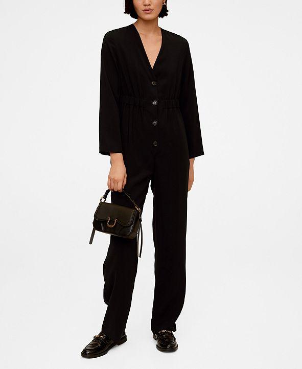 MANGO Buttoned Long Jumpsuit