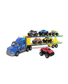 Supreme Machines Car Transporter Playset Includes 6 Vehicles