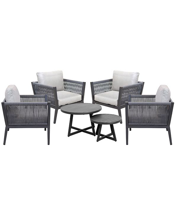 Furniture Braxtyn Outdoor 5-Pc. Seating Set (4 Club Chairs & Round Nesting Coffee Table) with Sunbrella® Cushions, Created for Macy's