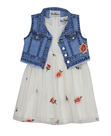 Little Girls Floral Embroidered Mesh Dress with Vest