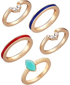 Gold-Tone 5-Pc. Set Crystal & Stone Stack Rings
