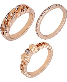 Gold-Tone 3-Pc. Set Crystal Stack Rings