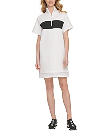 Sport Colorblocked Half-Zip Sheer-Hem  Dress