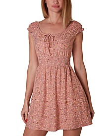 Juniors' Smocked-Waist Dress