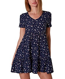 Juniors' Short-Sleeve V-Neck Dress