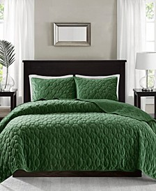 Harper Velvet 3-Piece Quilted Coverlet Sets