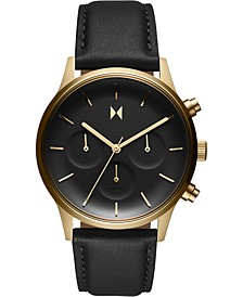 Women's Chronograph Duet Black Leather Strap Watch 38mm