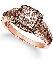 Chocolate Diamonds (1/2 ct. t.w.) & Nude Diamonds (1/2 ct. t.w.) Square Halo Cluster Ring in 14k Rose Gold