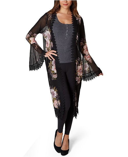 Polly & Esther Juniors' Floral Lace-Trimmed Kimono