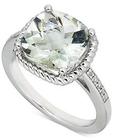 Pink Amethyst (3 ct. t.w.) & Diamond (1/20 ct. t.w.) Ring in Sterling Silver (Also in Blue Topaz & Green Quartz)