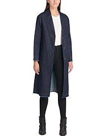 Long Button-Front Denim Duster