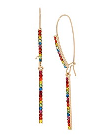 Rainbow Stone Bar Long Drop Earrings in Gold-tone Metal, 2.6""