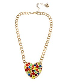 """Rainbow Stone Heart Pendant Necklace in Gold-tone Metal, 16"""" + 3"""" Extender"""