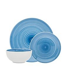 Spiral Blue 12-PC Porcelain Dinnerware Set