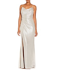 Cowlneck Metallic Gown