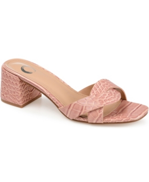The Perette slide is fancy, simple, elegant, and versatile all at the same time. This perfect slide features a crisscross detail across the toe with a smaller heel height for attractive height. The synthetic croc texture creates such a unique look for any outfit.