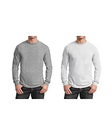 Men's 2-Pack Egyptian Cotton-Blend Long Sleeve Crew Neck Tee