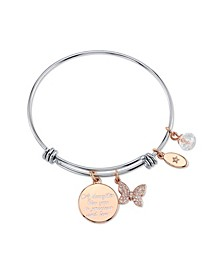 """Daughter"" Crystal Butterfly Charm Expandable Bangle Bracelet in Stainless Steel & Rose Gold Tone Plated Charms"
