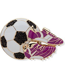Gold-Tone Pavé Soccer Ball & Cleats Pin, Created for Macy's
