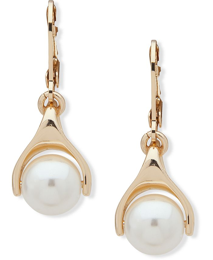 Anne Klein - Gold-Tone Imitation Pearl Drop Earrings