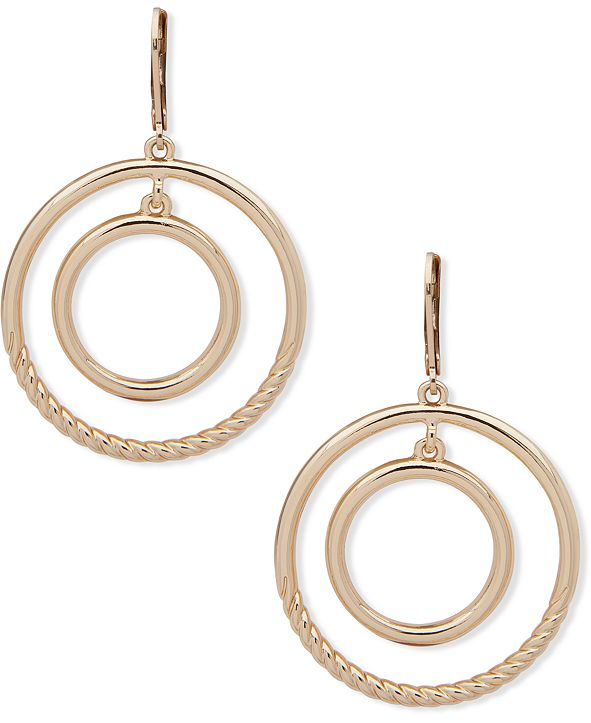 Anne Klein Gold-Tone Orbital Drop Earrings