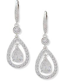 Silver-Tone Crystal Orbital Drop Earrings