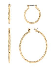 Gold-Tone Diamond Cut Hoop Earrings Set