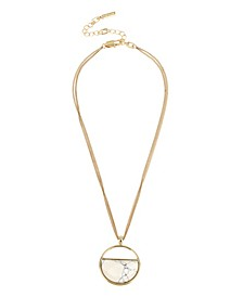 Gold-Tone Stone Geometric Pendant Necklace