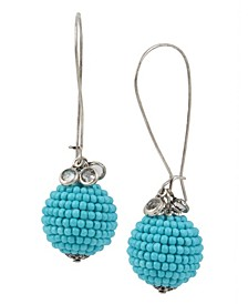 New York Woven Turquoise Beaded Ball Long Drop Earrings