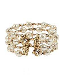 New York Imitation Pearl Multi Row Cuff Bracelet
