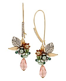 New York Flower Cluster Long Drop Earrings