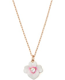 "Gold-Tone Cubic Zirconia Flower Pendant Necklace, 16"" + 3"" extender"