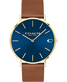 Men's Charles Brown Leather Strap Watch 41mm, Created for Macy's
