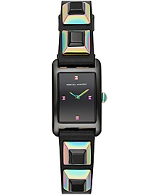 Women's Moment Iridescent Stud & Black Leather Strap Watch 19x30mm