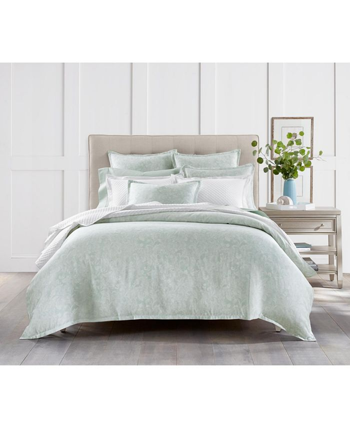 Charter Club - Sleep Luxe Cotton 800-Thread Count Aloe Scroll Duvet Collection, Created for Macy's