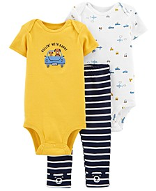 Baby Boys 3-Pc. Cotton Cars Bodysuits & Striped Pants Set