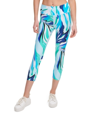 Calvin Klein Performance Printed High-waist Cropped Leggings In Blue