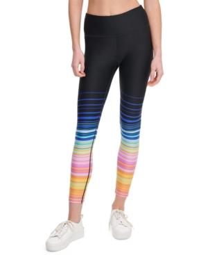 Calvin Klein Performance Printed High-waist Leggings In Sunset Stripe Tangelo Combo