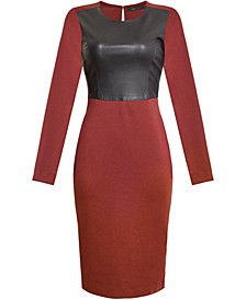 Mixed-Media Bodycon Dress